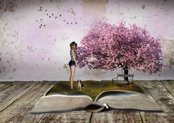 Fantasy kép fa, lány, könyv
